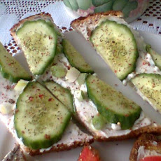 Crunchy Cheesy Open Face Cucumber Sandwiches