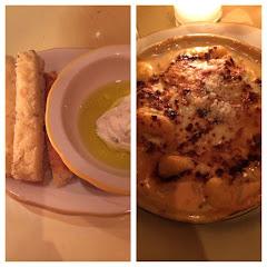 Focaccia bread and gnocchi