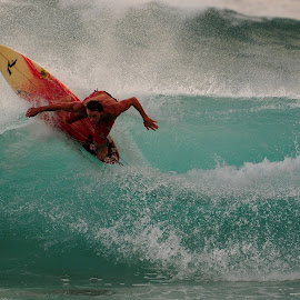 Turning in by Kevin Mummau - Sports & Fitness Surfing ( bigwave, orange, surfing, beach, surf )