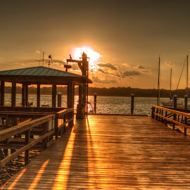 Dock at Sunset by Keith Wood - Buildings & Architecture Bridges & Suspended Structures ( kewphoto, hdr, sunset, dock, keith wood )