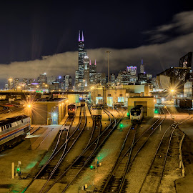 Chicago Nights by John Williams - City,  Street & Park  Night ( cityscape, chicago, train yard, trains, nightscape )