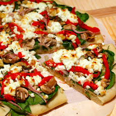 Bell Pepper, Red Onion, and Goat Cheese Pizza