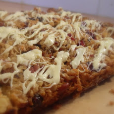 Cranberry, Pecan and White Chocolate Flap Jacks