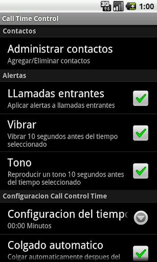 Call Time Control