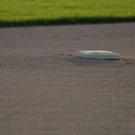 The Point Of Play by Tim Murphy - Sports & Fitness Baseball ( field, second, grass, baseball, green, sports, base, dirt, evening )