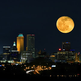 Light on Tulsa by James Bokovoy - City,  Street & Park  Skylines ( tulsa, skyline, moon, oklahoma, city )