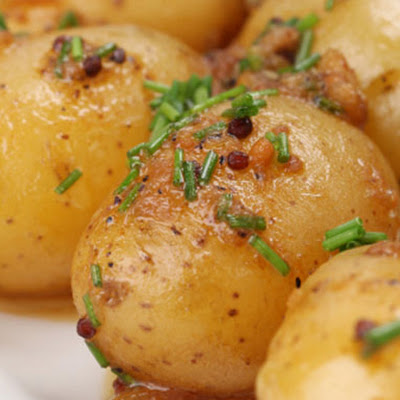 Roasted New Potatoes with Mustard Seeds and Chives
