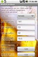 Screenshot of Alcohol Calculator