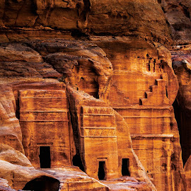 ancient carved stone in petra by Jerry ME Tanigue - Buildings & Architecture Public & Historical