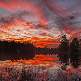 October 19, 2014 by Lowell Griffith - Landscapes Sunsets & Sunrises ( clouds, reflection, sunset, lake )