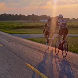 Country Cycle by Thomas Polk - Sports & Fitness Cycling ( car, sunset, path, travel, road, transportation, kentucky, bicycle )
