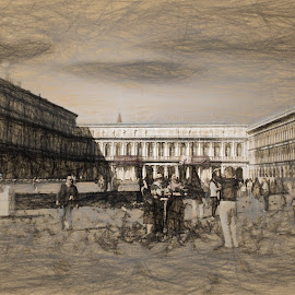 St Marks Square by Dennis Granzow - Digital Art Places ( digital art, venice, digital drawing, travel, italy )