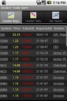 Screenshot of Insider Stock Trading Alert