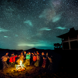 Pray by SooSing Goh - People Portraits of Men ( temple, traditional prayer, stars, pray, pura luhur poten temple, traditional, bromo )