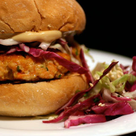 Asian Salmon Burgers with Sesame Slaw