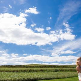 Big Blue by Mike Herod - Wedding Bride & Groom ( sky, bride and groom, bride, groom )