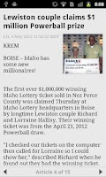 Screenshot of Idaho lottery numbers fromKTVB