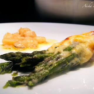 Asparagus Wrapped in Serrano Ham and Salmon au Gratin