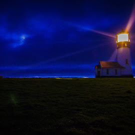 Cape Blanco Lighthouse by Jeana Caywood - Landscapes Prairies, Meadows & Fields ( cape blanco, oregon, moon, lighthouse, night, Earth, Light, Landscapes, Views )