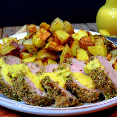 Pepper Crusted Pork Tenderloin with Savory Mustard Sauce