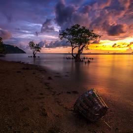 Empty Basket by Ade Noverzan - Landscapes Sunsets & Sunrises ( sunset, basket, trees, beach, dusk )
