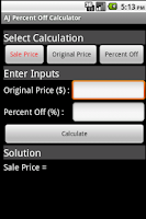 Screenshot of AJ Percent Off Calculator