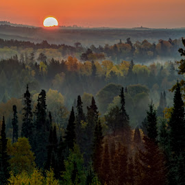 Misty Morning Sunrise by David Johnson - Landscapes Sunsets & Sunrises ( hills, fog, colors, fall, sunrise )