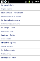 Screenshot of Learn German vocabulary