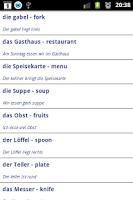 Screenshot of Learn German vocabulary