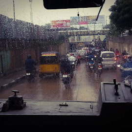 rain  by Sivakumar Kanniappan - News & Events Weather & Storms ( bus, windshield, cityscape, climate, rain )