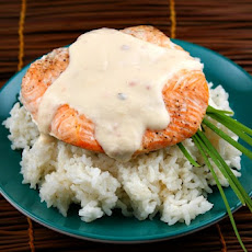 Baked Salmon with Creamy Coconut- Ginger Sauce