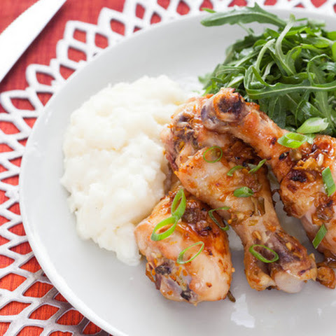Orange-Glazed Chicken Drumsticks with Mashed Yucca & Arugula Salad