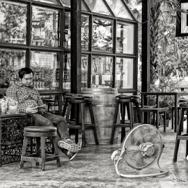 A Cool Place. by Ian Gledhill - People Street & Candids ( black and white, street, thailand, asia, cafe, candid, men, bar, people )