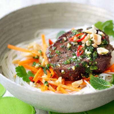Grilled Beef, Carrot And Rice Noodle Salad