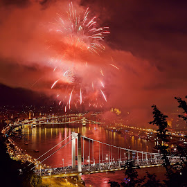 Apocalypse Over Budapest by Ilyés Zoltán - City,  Street & Park  Historic Districts ( hungary, tüzijáték, budapest, fireworks, magyarország )