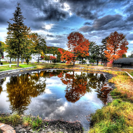 Autumn Reflections by Bruce Forman - City,  Street & Park  City Parks ( worcester;hdr;reflection;park )