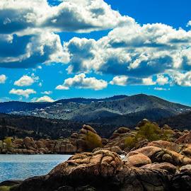 Prescott Mountains  by Stephen Schwartzengraber - Landscapes Mountains & Hills ( clouds, mountains, blue sky, ariz, landscape )