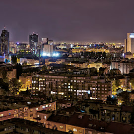 Zagreb by night by Kristijan Vucko - City,  Street & Park  Skylines ( croatia, skylines, night, zagreb, city )