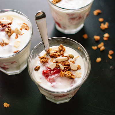 Roasted Strawberry Rhubarb and Yogurt Parfaits
