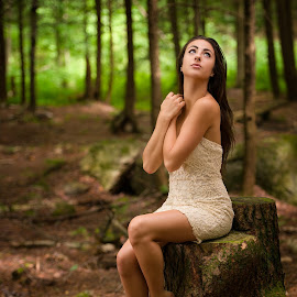 Lost by Robert Jr Choquette - People Portraits of Women ( forrest, girl, dress, woman, beautiful, white, trees, woods )