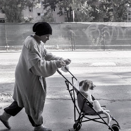 Dog day afternoon by Bogdan Rusu - City,  Street & Park  Street Scenes ( black and white, funny, cityscape, dog, people )