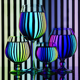 Hues of violets by Rakesh Syal - Artistic Objects Glass ( vertical lines, pwc,  )