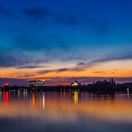 Blue city by Luci Marin - Landscapes Sunsets & Sunrises ( waterscape, sunset, reflections, long exposure )