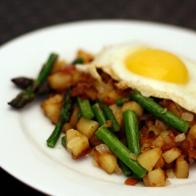 Spring Asparagus and Bacon Hash