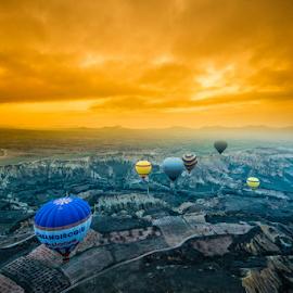 Burning Skies by Dripta Roy - Landscapes Travel ( hot air balloon, sunrise, travel, nikon, landscape, cappadocia, path, nature )
