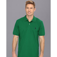 U.S. Polo Assn - Solid Polo with Small Pony (Kelly Green/Navy) - Apparel