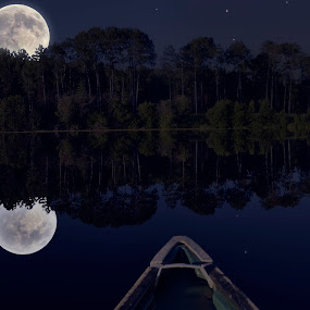 Cariboo Super Moon from a Canoe by Skye Ryan-Evans - Transportation Boats ( moon reflection, lunar photography, canoeing, nature, night photography, moon reflecting on a lake, scenic photography, super moon, outdoors, canoe, full moon, recreation )