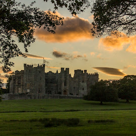 Raby Castle at sunset by Colin Waite - Buildings & Architecture Public & Historical ( raby castle sun sunset trees clouds )