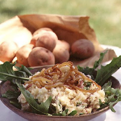 Mashed Potatoes With Bitter Greens and Sweet Onions