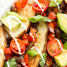 Black Bean and Potato Nacho Plate